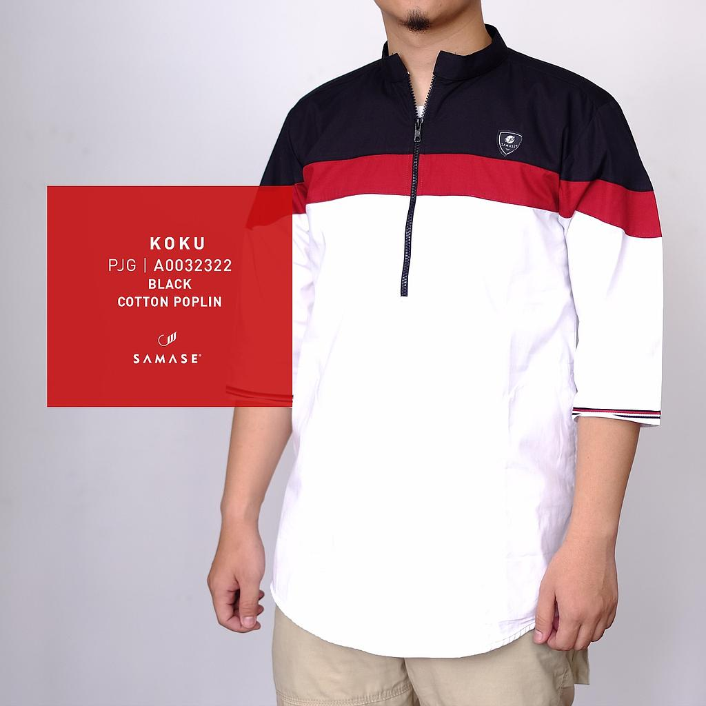 Black Cotton Puplin Semi Wol Red White URI-12